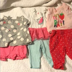 3 Baby girl outfits 0 to 3 months